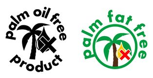 Ícone livre do produto do óleo/gordura de palma Árvore e símbolo da gota com cruz Versão preto e branco, ou da cor do sinal Imagem de Stock Royalty Free