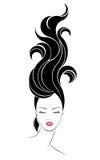Ícone longo do penteado, cara das mulheres do logotipo ilustração stock