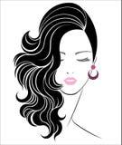 Ícone longo do penteado, cara das mulheres do logotipo ilustração royalty free