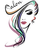 Ícone longo do penteado das mulheres, cara das mulheres do logotipo no fundo branco Imagem de Stock