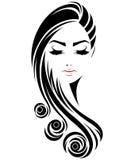 Ícone longo do penteado das mulheres, cara das mulheres do logotipo no fundo branco ilustração royalty free