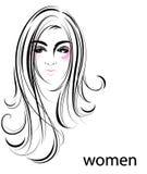 Ícone longo do penteado das mulheres, mulheres do logotipo no fundo branco Ilustração Royalty Free