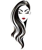 Ícone longo do penteado das mulheres, mulheres do logotipo no fundo branco ilustração stock