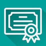 Ícone longo horizontalmente azul Logo Design da sombra do certificado Fotos de Stock