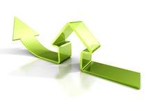 Ícone lustroso da casa verde com seta de aumentação Conceito 6 dos bens imobiliários ilustração royalty free