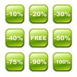 Ícone lustroso da tecla do vetor, verde Foto de Stock Royalty Free