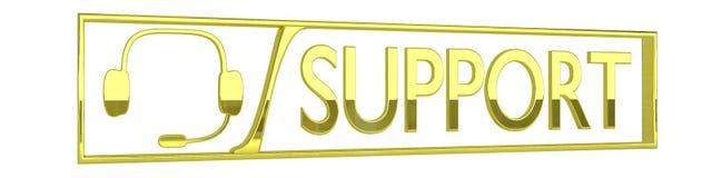 Ícone lustroso do apoio do ouro, isolado no fundo branco Fotografia de Stock Royalty Free