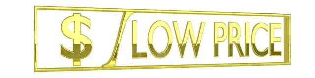 Ícone lustroso do preço baixo do ouro - 3D rendem isolado no branco Fotografia de Stock