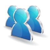 ícone lustroso do sinal do vetor do usuário 3d Foto de Stock