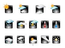 Ícone lustroso v.02 ajustado do vetor da previsão de tempo Fotos de Stock Royalty Free