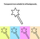 Ícone mágico transparente da varinha do esboço simples em tipos diferentes de fundos claros Fotografia de Stock Royalty Free