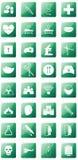 Ícone médico ajustado no fundo verde Fotografia de Stock Royalty Free