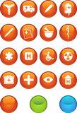 Ícone médico ajustado - redondo Imagens de Stock