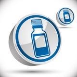 Ícone médico da garrafa 3d ilustração stock