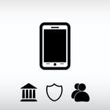 Ícone móvel do smartphone, ilustração do vetor Estilo liso do projeto Fotos de Stock Royalty Free
