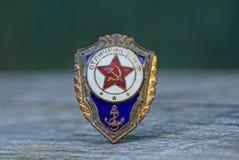 Ícone marinho soviético da cor velha na tabela cinzenta fotos de stock royalty free