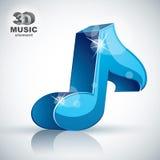 Ícone moderno musical azul da nota 3d Fotos de Stock Royalty Free