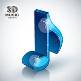 Ícone moderno musical magro azul na moda do estilo da nota 3d Fotografia de Stock Royalty Free