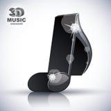 Ícone moderno musical magro na moda do estilo da nota 3d Imagens de Stock Royalty Free