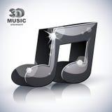 Ícone moderno musical na moda do estilo da nota 3d isolado Imagens de Stock