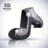 Ícone moderno musical preto da nota 3d Fotos de Stock