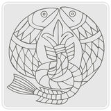 ícone monocromático com arte celta e os ornamento étnicos Imagem de Stock Royalty Free