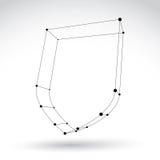 ícone monocromático da segurança da carcaça da malha 3d isolado no backg branco Foto de Stock Royalty Free