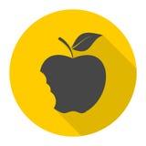Ícone mordido da maçã com sombra longa ilustração do vetor