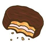Ícone mordido do biscoito do choco, estilo tirado mão ilustração do vetor