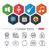 Ícone musical dos elementos Microfone, orador sadio Fotos de Stock