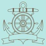 Ícone no tema do mar Boia salva-vidas, âncora, volante, fita contorcendo para a inscrição Imagens de Stock