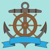 Ícone no tema do mar Boia salva-vidas, âncora, volante, fita contorcendo para a inscrição Foto de Stock