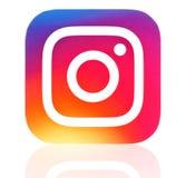 Ícone novo do instagram impresso no papel Fotografia de Stock Royalty Free