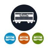 Ícone o carro de frete railway para o carvão, vetor Fotos de Stock Royalty Free