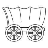 Ícone ocidental antigo do vagão coberto, estilo do esboço ilustração do vetor