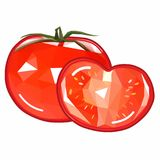 Ícone original, bonito e do unusuai do vetor do tomate em um corte Fotografia de Stock