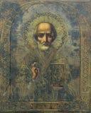 Ícone ortodoxo de São Nicolau o Wonderworker imagens de stock royalty free