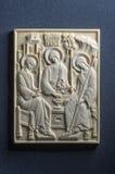 Ícone ortodoxo do marfim gigantesco handcrafted Fotografia de Stock