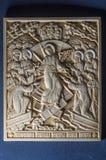 Ícone ortodoxo do marfim gigantesco handcrafted Foto de Stock Royalty Free