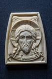 Ícone ortodoxo do marfim gigantesco handcrafted Imagens de Stock Royalty Free