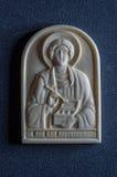 Ícone ortodoxo do marfim gigantesco handcrafted Imagem de Stock