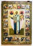 Ícone ortodoxo do russo antigo São Nicolau com as cenas de Imagens de Stock Royalty Free