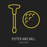 Ícone ou elemento do jogo de golfe Imagens de Stock