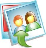 Ícone ou símbolo da foto da transferência de arquivo pela rede Imagem de Stock