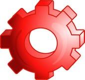 Ícone ou símbolo vermelho da engrenagem Imagens de Stock Royalty Free