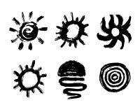Ícone pintado do sol Elemento do projeto do Grunge para o Web site da previsão de tempo A escova afaga a textura ilustração stock