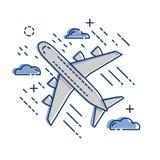 Ícone plano do avião de passageiros do avião isolado no fundo branco Plano e linha estilo da arte Fotos de Stock