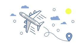 Ícone plano do avião de passageiros do avião isolado no fundo branco Plano e linha estilo da arte Fotografia de Stock