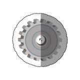 Ícone pontilhado da roda de engrenagem da etiqueta degradado ilustração do vetor