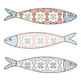 Ícone português tradicional Sardinhas coloridas Fotos de Stock